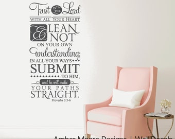 Trust In The Lord Wall Decal - Proverbs 3:5-6 Sticker Vinyl Lettering - Scripture Vinyl Wall Decal - Bible Verse Vinyl Decal - Christian