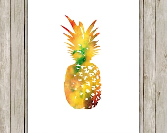 8x10 Pineapple Print, Watercolor Wall Art, Watercolor Printable, Fruit Poster, Home Decor, Kitchen Art, Poster, Instant Digital Download