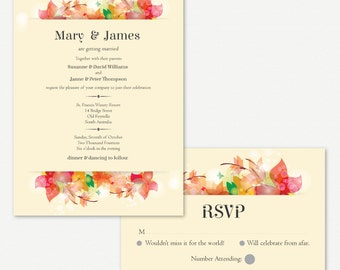 Wedding Invitations Autumn Leaves