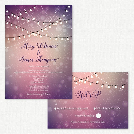 Outdoor Wedding Invitation Wording: Wedding Invitations Twinkle Lights Outdoor By PaperBoundLove