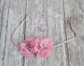 Pink Pearl and Rhinestone Headband - Pink Headband - Flower Girl Headband - Pink Wedding - Bridesmaid Headband