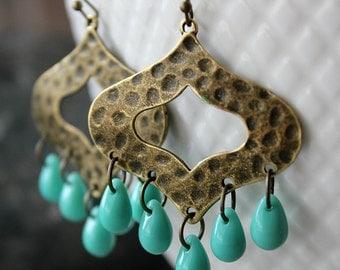 Green Turquoise Boho Chandelier Earrings, Antique Brass, Bohemian Hoop Earrings, Moroccan dangles, Southwest, Gypsy Jewelry