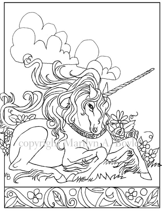 DIGITAL DOWNLOAD UNICORNadult Coloring Page Fantasy