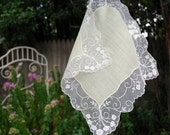 Vintage Hankie Lime Green and Tambour Net Lace Bridal Accessory