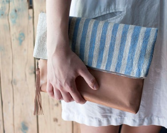 Leather Linen Clutch, Leather Clutch, Foldover Leather Clutch