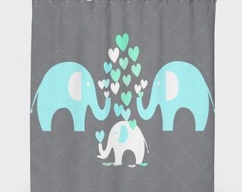 Elephant Shower Curtain, Kids Bathroom Accessories, Elephant Bathroom, Shower Curtain Kids,Kids Bathroom Shower Curtain, Kids Bathroom Decor