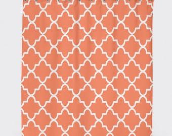 Coral Shower Curtain, Shower Curtain Geometric, Pattern Shower Curtain,Orange  Shower Curtain,  Orange Shower Curtain