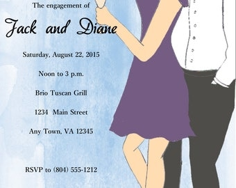 Chic Couples Engagement Party Invitation