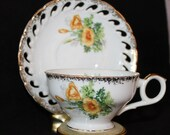 Vintage Enesco Japan Tea Set, Cup and Saucer, Lace Edge Yellow Poppy Flower, Gold Trim, Coffee, Collectable, Signed