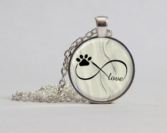 Necklace Infinity Symbol with Dog Paw Picture Pendant Necklace Photo Pendant Womens Jewelry Statement Necklace Dog Rescue Dog Jewelry