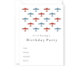 Blank Preppy Airplane Birthday Party Invitations