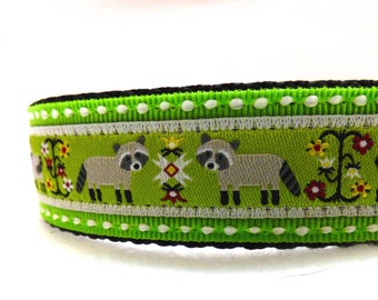 BACK to SCHOOL SALE - Raccoons dog collar/ green dog collar/ ribbon dog collar