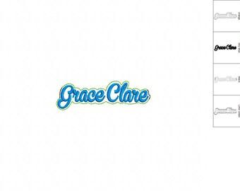 Grace Clare - Name-  Headband Slip On  - DIGITAL EMBROIDERY DESIGN