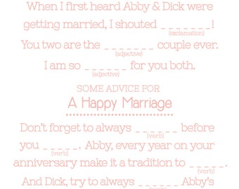 Wedding MAD LIBS Printables - Unique Guest Book Alternative- Wedlibs- Doilies Madlibs- Wedding Shower Games