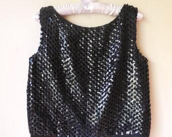 vintage 1960s black sequin top with fringe