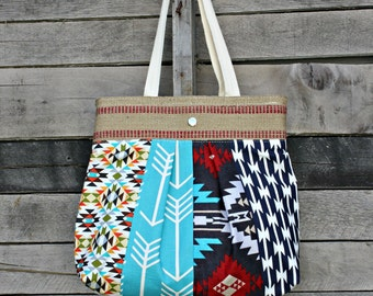 Scrappy Pleated Tote Bag, Everyday Purse, Arrows, Aztec, Tribal