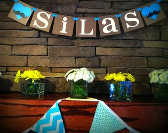 Mustache Movember Custom Name Banner / Kids Room Decor /Childs Name / Personalized Name / Nursery Sign / Little Man / Rustic  Name Decor