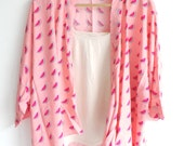 Watermelon Kimono Jacket - Summer print Kimono - Pastel Pink and Red - Fruits - Cardigan