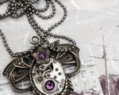 Steampunk watch necklace Handcrafted artistic steampunk jewelry -The Victorian Magpie