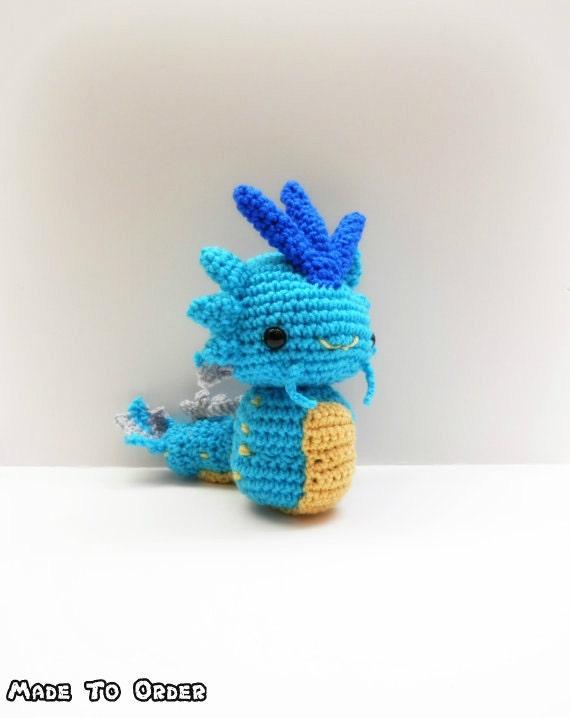 Pokemon Chibi Amigurumi Pattern : Crochet Gyarados Inspired Chibi Pokemon by MissJennysCrochet