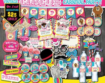 Pink Circus Party Package,Vintage Circus Birthday Package,Carnival Birthday Party Printable,Carnival Party Decoration,Girl Carnival Party