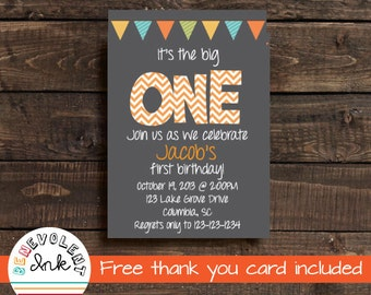 First Birthday Invitation - Printable 1st Birthday Party Invite - First Birthday Boy - 1st Birthday Boy - Birthday Party Printable