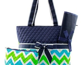 Personalized Aqua & Lime Green Chevron Diaper Bag with Changing Pad And Cosmetic Case