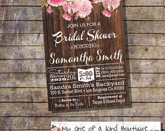 Country chic bridal Shower invitation bachelorette engagement rustic wood roses pink wedding digital printable invitation you print 13705