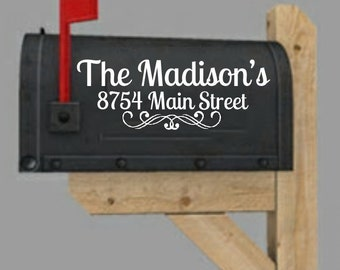 Mailbox Decal, Monogram Mailbox Decal, Family Name Mailbox Sticker, Personalized Mailbox Decal