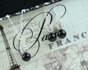 Black Bridesmaid Jewelry - Bridesmaid Jewelry Set -  Black Wedding Jewelry - Pearl Drop Necklace - Flower Girl Gift - Pearl Bridesmaid Set