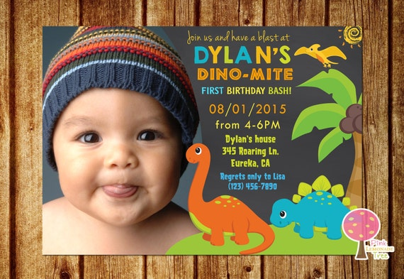Dinosaur Birthday Party Invitation Chalkboard Invitation 1st – 1 Birthday Party Invitations