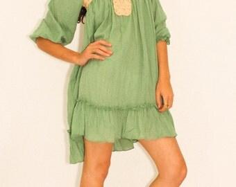 New Romantics Dress in Green Opal