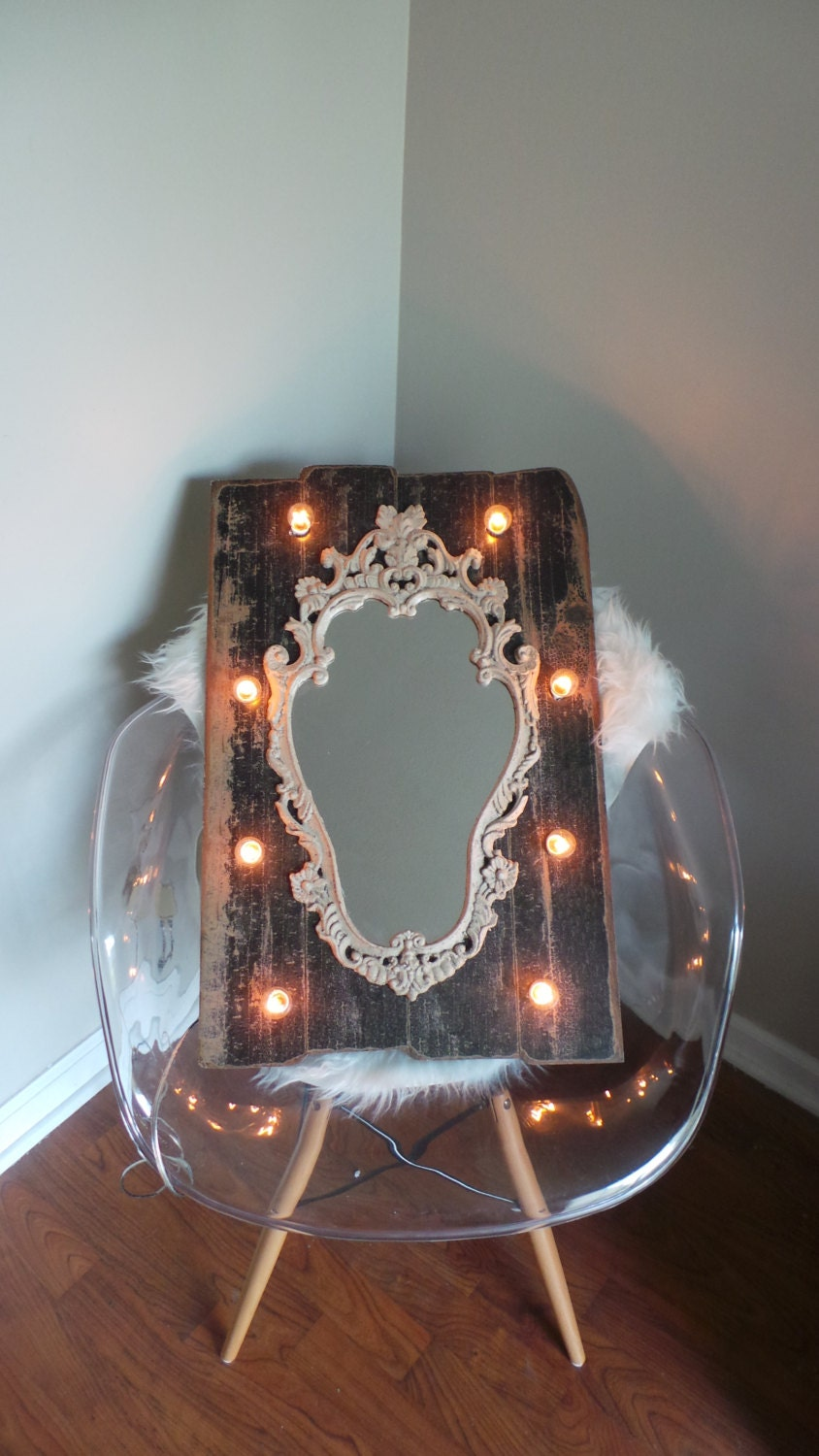 Vanity Mirror With Lights Etsy : Vanity Mirror Lights Dark Wood Rustic Chic