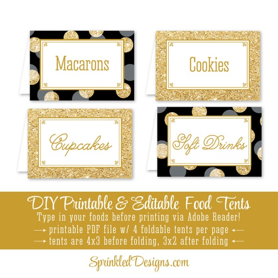 Black Gold Glitter Printable Party Food Tents Folding