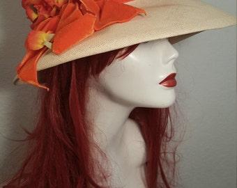 FREE  SHIPPING  Vintage 1950 Pamnama  Straw Flower Hat