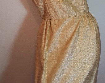 FREE  SHIPPING     1950 Gold  Metallic  Dress