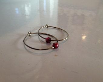 Vintage Hoop and Bead Earrings