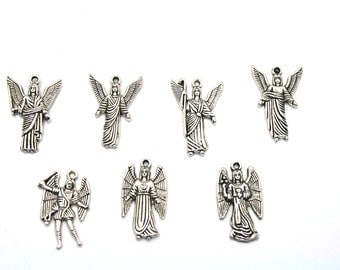 Archangel charms,7pcs,Seven Archangels,Silver Archangel Charms, Gabriel, Michael, Raphael, Uriel, Raguel, Remiel and Saraqael