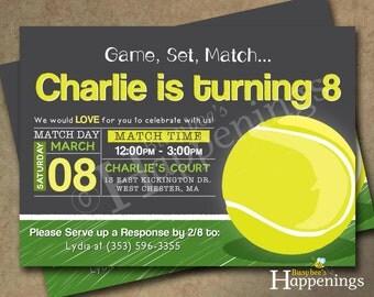 Tennis Birthday Invitation Tennis Birthday Tennis Ball Birthday Invitation Tennis Chalkboard Digital File by Busy bee's Happenings