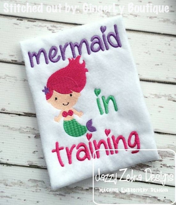 Mermaid in Training Embroidery Design - mermaid embroidery design - girl embroidery design - baby embroidery design - summer embroidery