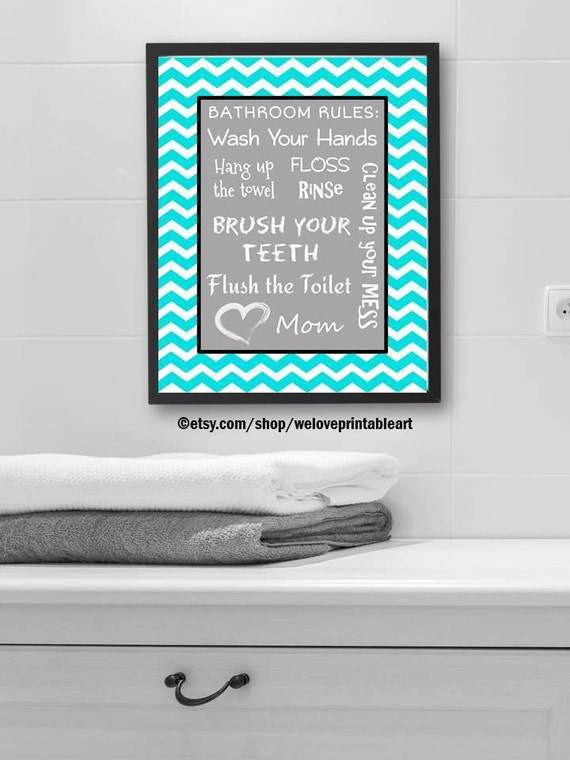 Turquoise chevron kids bathroom decor bathroom rules for Turquoise bathroom set