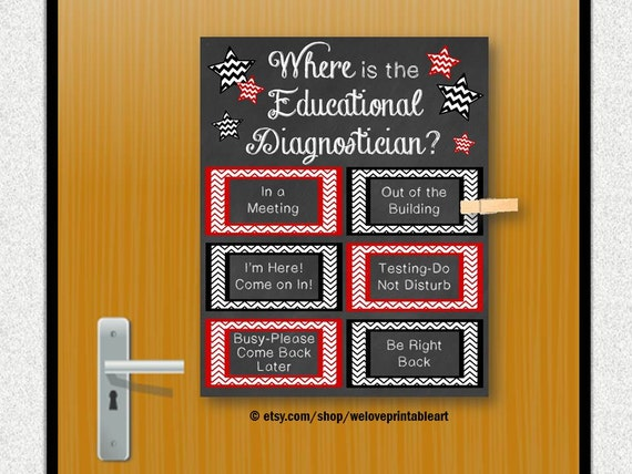 Educational Diagnostician Back To School Door Sign Office