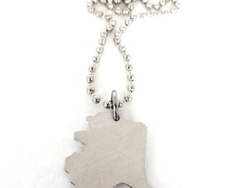Hand Stamped Alaska State Necklace with Heart Over your City (most cities)