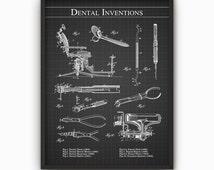 Dental Inventions Wall Art Poster - Dentist Patent Wall Art - Dentistry Student Gift Idea - Vintage Dorm Room Wall Art Decor - Dentist Gift