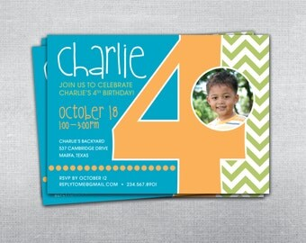 4th birthday invitation chevron. Photo birthday invitation.