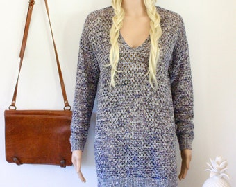 Crochet jumper long sleeved top bohemian slouch style blue black crocheted boho