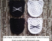 CROCHET PATTERN - Cat Face Coasters - Kitty Coasters - Cat Lover Gift - Permission to Sell Finished Items