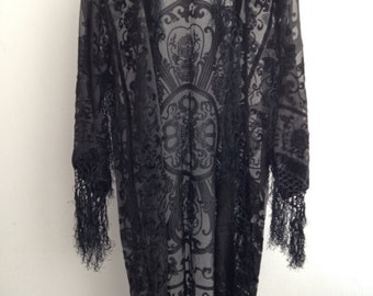 Black Kimono Gypsy Fringe Kimono Jacket,  Black floral velvet Kimono
