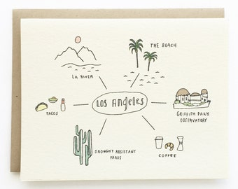 Hello From Los Angeles - Hand Drawn Greeting Card