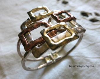 Vintage Textured Square Linked Bracelet, Copper tone, Thick Bracelet, Wide Bracelet, Gold Tone, Silver Tone, Textured Bracelet, Spring Clasp
